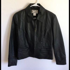 $250 Clio Black Leather Jacket size 10